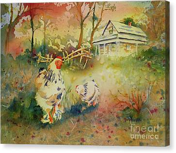 Canvas Print featuring the painting Hen And Rooster by Mary Haley-Rocks