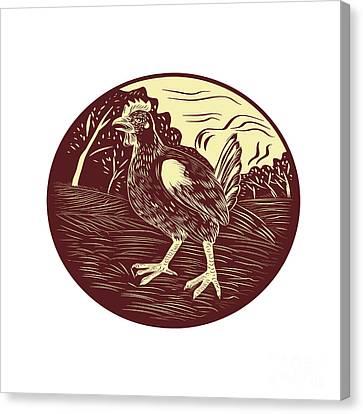 Hen Farm Oval Woodcut Canvas Print by Aloysius Patrimonio