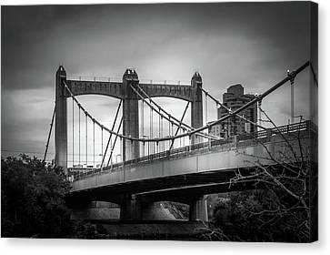 Hennepin Avenue Bridge In Black And White Canvas Print by Art Spectrum