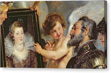 Henri Iv Receiving The Portrait Of Marie De Medici Canvas Print by Rubens