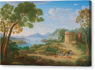 Henrik Frans Van Lint Antwerp 1684-1763 Rome A Classical Landscape With Figures Seated Before A Te Canvas Print