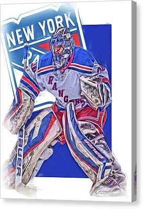 Henrik Lundqvist New York Rangers Oil Art Canvas Print by Joe Hamilton