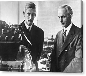 Ford Plant Canvas Print - Henry Ford & Prince Nicholas by Underwood Archives