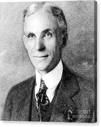 American Car Canvas Print - Henry Ford, Inventor By Js by John Springfield