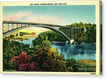 Canvas Print featuring the photograph Henry Hudson Bridge Postcard by Cole Thompson