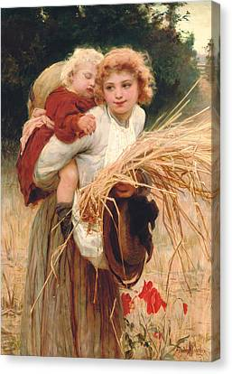 Her Constant Care Canvas Print by Frederick Morgan