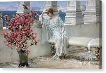 Her Eyes Are With Her Thoughts And They Are Far Away Canvas Print by Sir Lawrence Alma-Tadema