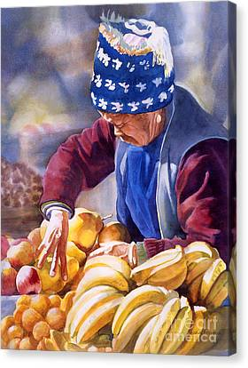 Chinese Peasant Canvas Print - Her Fruitstand by Sharon Freeman