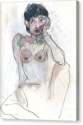 Canvas Print featuring the painting Her - Self Portrait by Carolyn Weltman