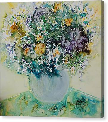 Canvas Print featuring the painting Herbal Bouquet by Joanne Smoley