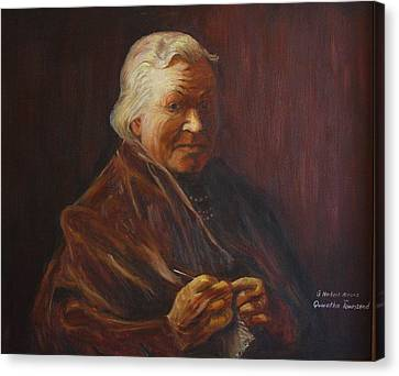 Canvas Print featuring the painting Herbert Abrams Mother by Quwatha Valentine