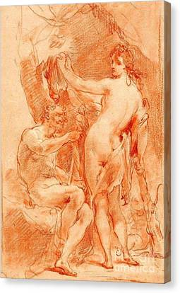 Hercules And Omphale Canvas Print by Pg Reproductions