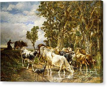 Cattle Drives Canvas Print - Herd Of Cows At A Drinking Pool by Charles Emile Jacque