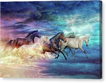 Herd Of Horses In Pastel Canvas Print
