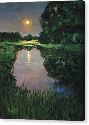 Here At The Night Pond Canvas Print