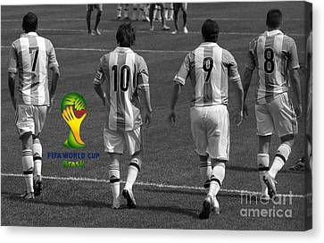 Here We Come Lionel Messi Fifa 2014 Black And White Canvas Print by Lee Dos Santos