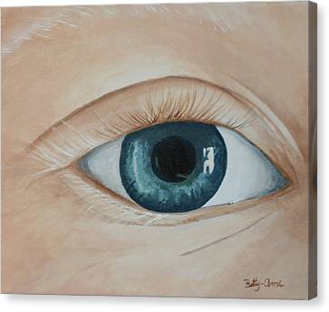 Canvas Print featuring the painting Heres Looking At You by Betty-Anne McDonald