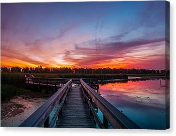 Canvas Print featuring the photograph Heritage Boardwalk Twilight by Chris Bordeleau