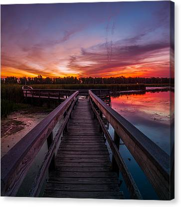 Canvas Print featuring the photograph Heritage Boardwalk Twilight - Square by Chris Bordeleau