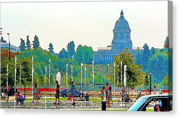 Canvas Print featuring the photograph Heritage Park Fountain by Larry Keahey