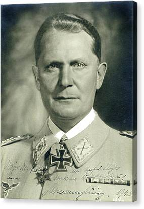 Herman Goering Autographed Photo 1945 Color Added 2016 Canvas Print by David Lee Guss