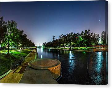 Hermann Park Reflecting Pool In Houston Texas Canvas Print by Micah Goff