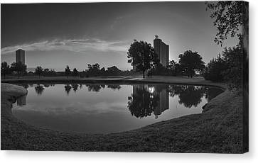 Hermann Park Sunrise Black And White Canvas Print by Joshua House