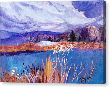 Canvas Print featuring the painting Herman's Pond by Betty Pieper