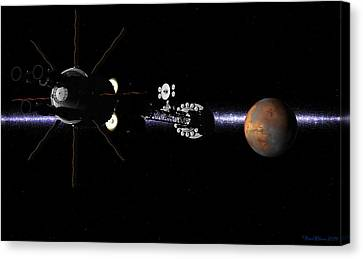 Canvas Print featuring the digital art Hermes1 In Sight Of Mars by David Robinson