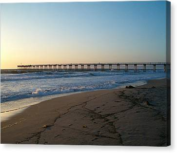 Hermosa Beach Pier At Sunset Canvas Print by Mark Barclay