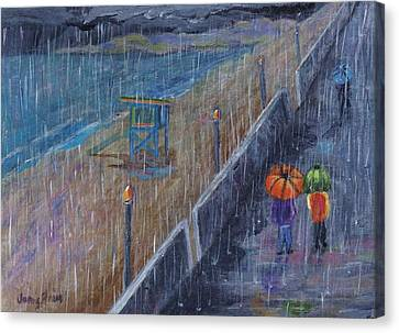 Canvas Print featuring the painting Hermosa Beach Rain by Jamie Frier