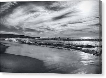 Canvas Print featuring the photograph Hermosa Evening Black And White by Michael Hope