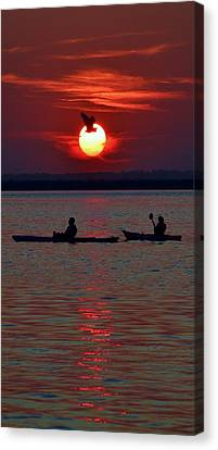 Heron And Kayakers Sunset Canvas Print by William Bartholomew