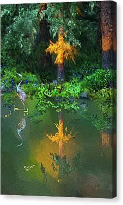 Canvas Print featuring the digital art Heron Art by Dale Stillman
