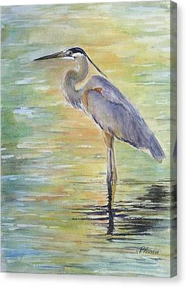 Great Blue Heron Canvas Print - Heron At The Lagoon by Patricia Pushaw