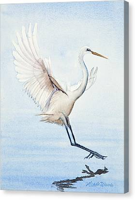 Heron Landing Watercolor Canvas Print by Michelle Wiarda