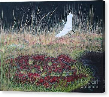 Heron Over Autumn Marsh Canvas Print by Cindy Lee Longhini