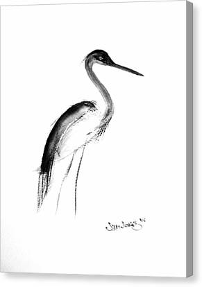 Canvas Print featuring the painting Heron by Sibby S