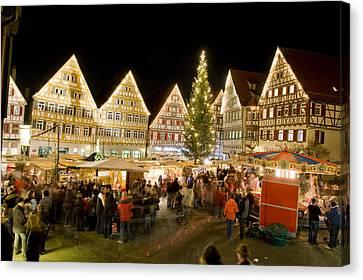 Herrenberg Christmas Market At Night Canvas Print