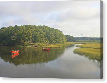 Herring River And Red Boats Cape Cod Canvas Print