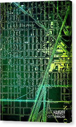 Harvey Old Green Map Year 1929 Canvas Print