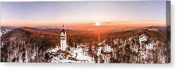 Heublein Tower In Simsbury Connecticut, Winter Sunrise Panorama Canvas Print by Petr Hejl