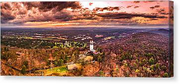 Heublein Tower, Simsbury Connecticut, Cloudy Sunset Canvas Print by Petr Hejl