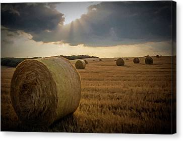 Canvas Print featuring the photograph Hey Bales And Sun Rays by David Dehner
