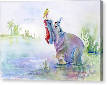 Hippopotamus Canvas Print - Hey Whats The Big Idea by Amy Kirkpatrick