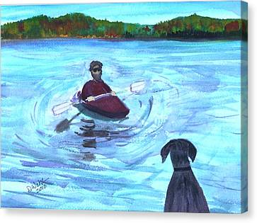 Canvas Print featuring the painting Hey Where You Going  by Donna Walsh