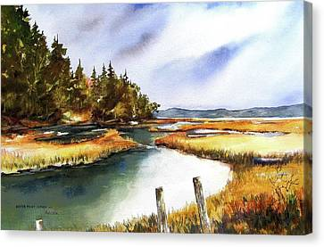 Canvas Print featuring the painting Heyer Pt   Vashon Wa by Marti Green
