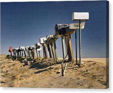 Hi-way 41 Mailboxes Canvas Print by Sharon Foster