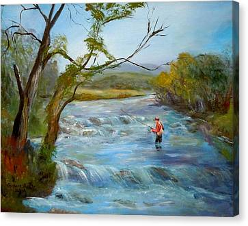 Hiawassee River Fly Fishing Canvas Print by Barbara Pirkle