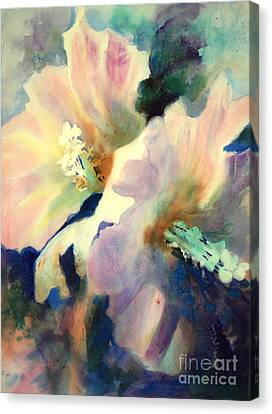 Canvas Print featuring the painting Hibicus Up Close by Kathy Braud